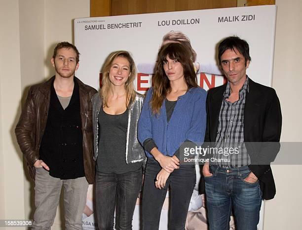 Malik Zidi Marilyne Fontaine Lou Doillon and Samuel Benchetrit attend 'Un Enfant De Toi' Paris Premiere at Cinema l'Arlequin on December 18 2012 in...