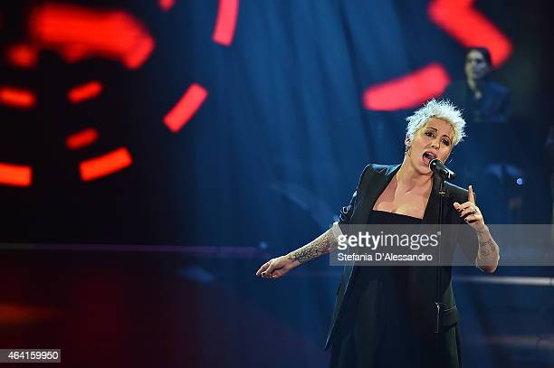 Malika Ayane performs live at 'Che Tempo Che Fa' TV Show on February 22 2015 in Milan Italy