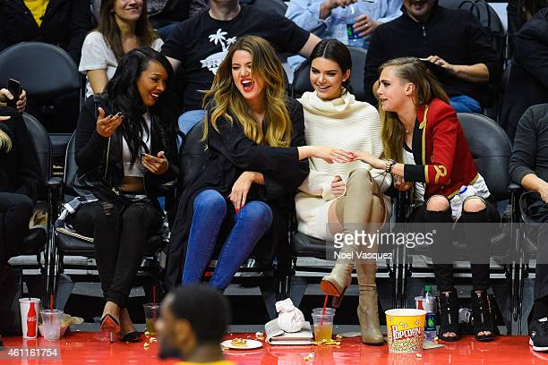 Malika Haqq Khloe Kardashian Kendall Jenner and Cara Delevingne attend a basketball game between the Los Angeles Lakers and the Los Angeles Clippers...