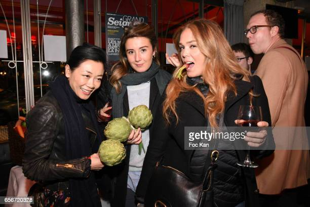 Malika Lambert actresses Anais Aidoud and Lola Dewaeret attend 'Apero Mecs A Legumes' Party Hosted by Grand Seigneur Magazine at the Bistrot...