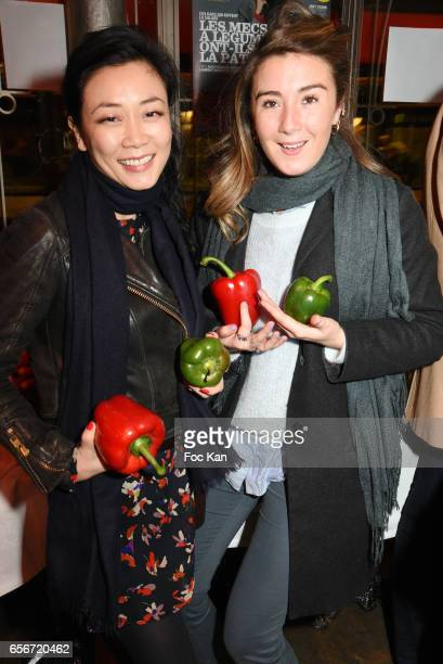 Malika Lambert and Anais Aidoud attend 'Apero Mecs A Legumes' Party Hosted by Grand Seigneur Magazine at the Bistrot Marguerite on March 22 2017 in...