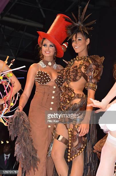 Malika Menard and Cindy Fabre walk the runway during the Salon Du Chocolat 2011 Ð Soiree dÕInauguration at Parc des Expositions Porte de Versailles...