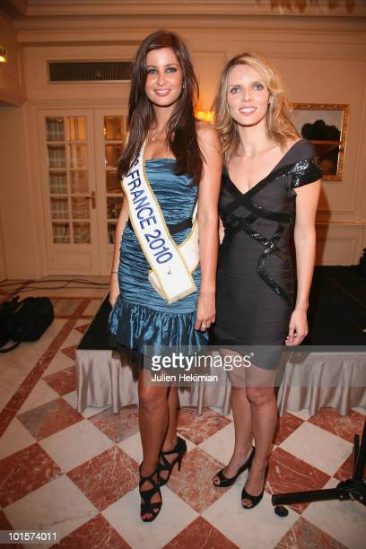 Malika Menard and Sylvie Tellier attend the Miss France Election new organisation at Hotel Crillon on June 2 2010 in Paris France