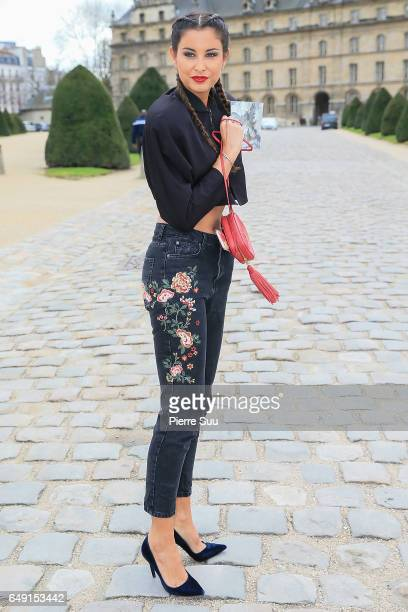Malika Menard arrives at the Agnes B show as part of the Paris Fashion Week Womenswear Fall/Winter 2017/2018 on March 7 2017 in Paris France