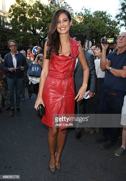 Malika Menard attends JeanPaul Gaultier fashion show at Le Grand Rex as part of the Paris Fashion Week Womenswear Spring/Summer 2015 on September 27...