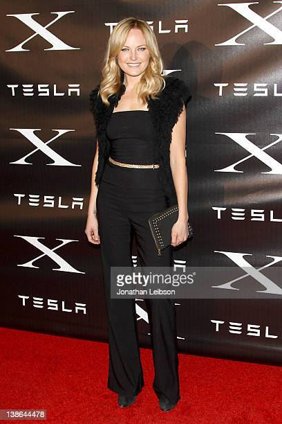 Malin Akerman attends Tesla Motors launches the highlyanticipated Model X with special performance by Foster The People at Tesla Design Studio on...