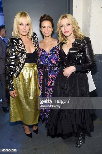 Malin Akerman Carla Gugino and Courtney Love pose backstage at the Marc Jacobs Spring 2017 fashion show at the Hammerstein Ballroom on September 15...