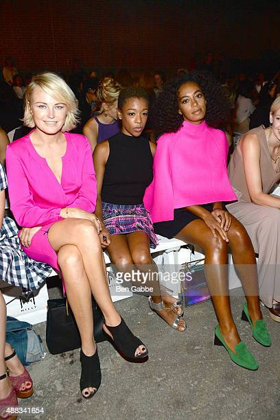 Malin Akerman Samira Wiley and Solange Knowles attend the Milly By Michelle Smith Fashion Show during Spring 2016 New York Fashion Week at Art Beam...