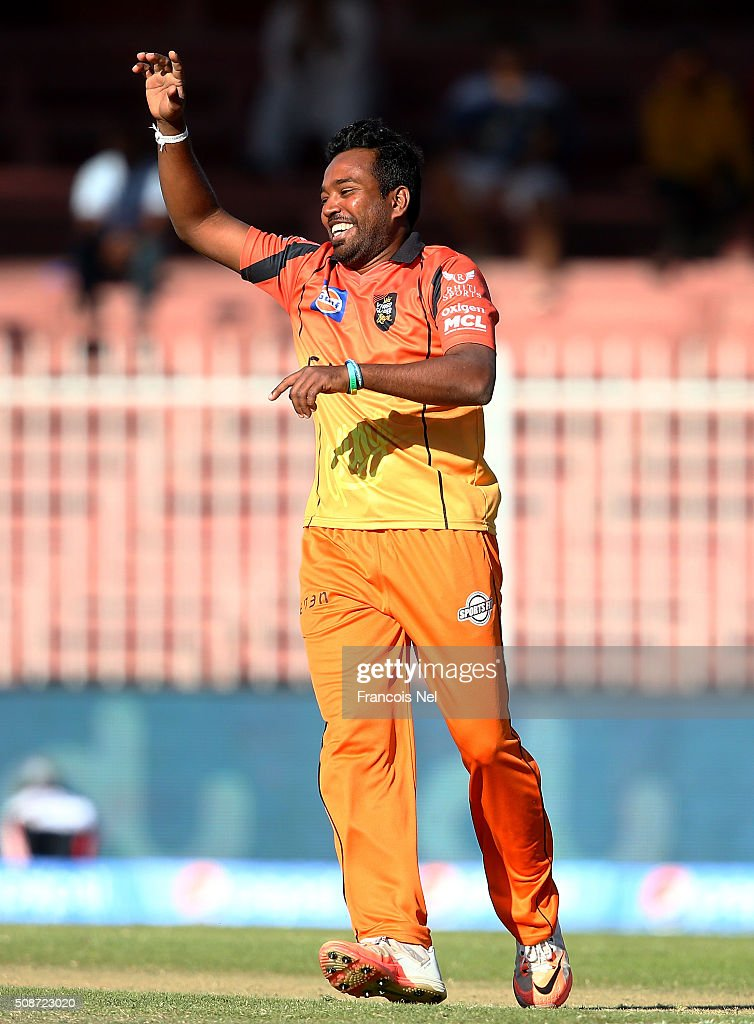 Malinga Bandara of Virgo celebrates the wicket of Kumar Sangakarra during the Oxigen Masters Champions League match between Gemini Arabians and Virgo Super Kings on February 6, 2016 in Sharjah, United Arab Emirates.