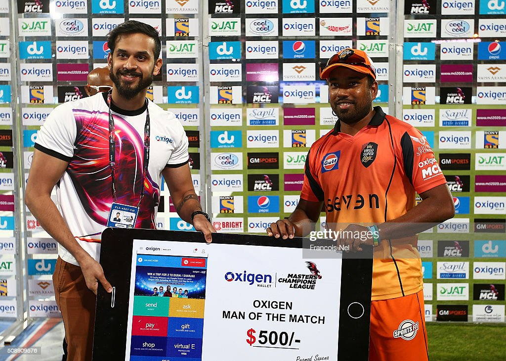 Malinga Bandara of Virgo Super Kings poses with the Man of the Match award after the Oxigen Masters Champions League match between Virgo Super Kings and Capricorn Commanders on February 7, 2016 in Sharjah, United Arab Emirates.