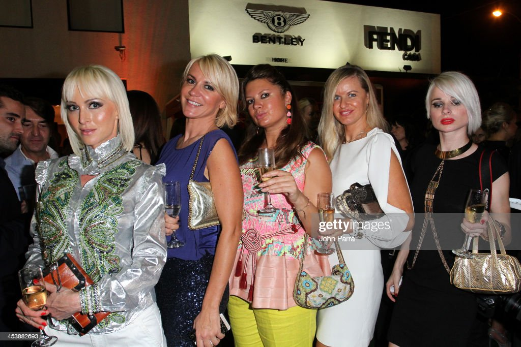 Malinka Max, Natalia Belaya, Elizaveta Vinskaya, Oxana Fesik and Alyona Endreams attend Fendi Casa Art Basel cocktail party on December 5, 2013 in Miami, Florida.