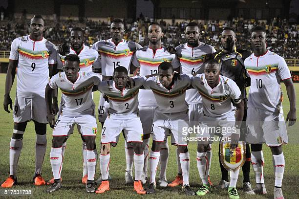 Mali's football player pose prior during the 2017 African Cup of Nations qualification football match between Mali and Guinea Equatorial in Bamako on...