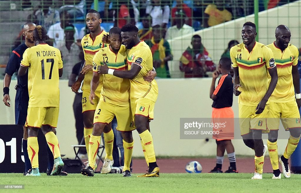 Mali's players celebrate after scoring a goal during the 2015 African Cup of Nations group D football match between Mali and Cameroon in Malabo on January 20, 2015.
