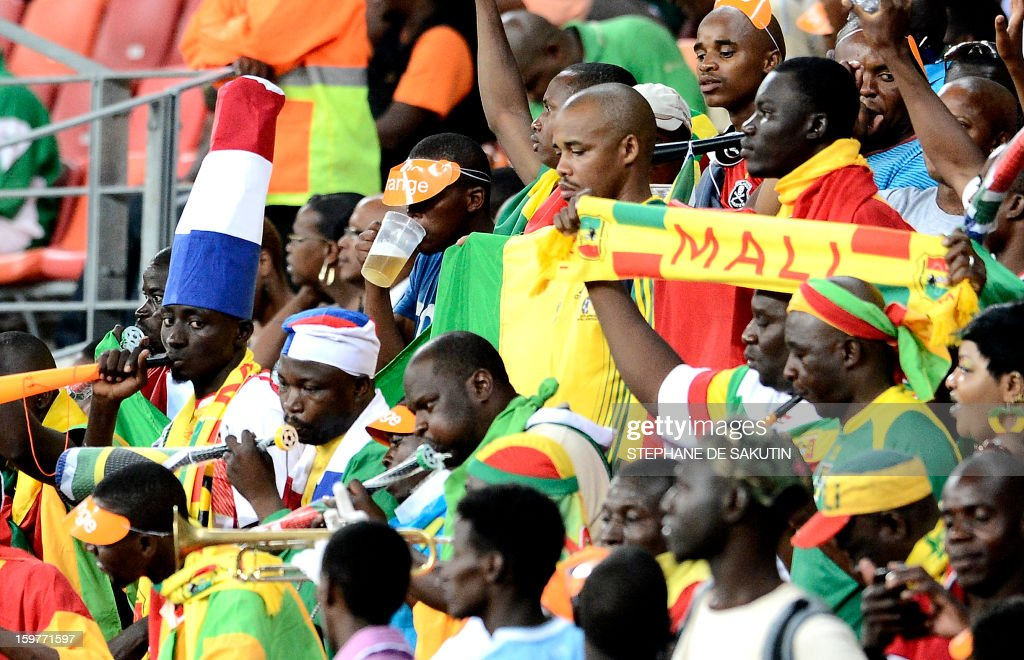 Mali's supporters cheer during the 2013 Africa Cup of Nations football match between Mali and Niger at Nelson Mandela Bay Stadium in Port Elizabeth on January 20, 2013.