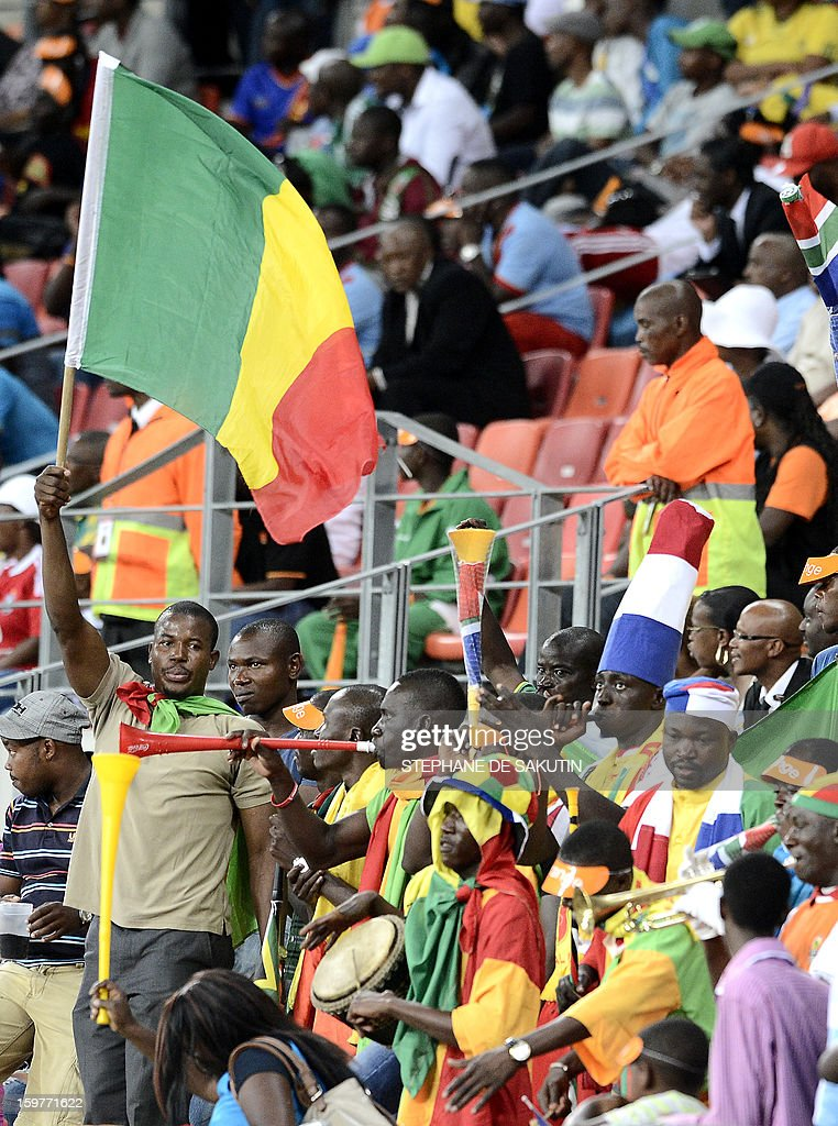 Mali's supporters cheer during the 2013 African Cup of Nations football match between Mali and Niger at the Nelson Mandela Bay Stadium in Port Elizabeth on January 20, 2013.