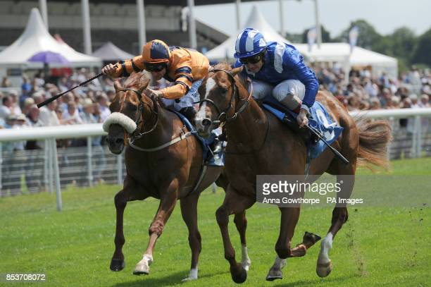 Maljaa ridden by Frederik Tylicki beats Teruntum Star ridden by Neil Callan to win the Cakemark EBF Stallions Maiden Stakes during the Summer Stakes...