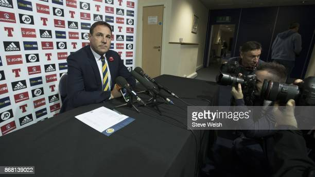 Malky Mackay interim manager of Scotland holds a press conference to name his squad for the forthcoming International Challenge Match against the...