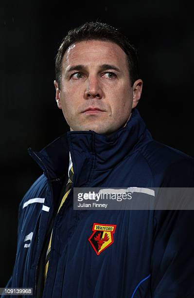 Malky Mackay manager of Watford looks on during the npower Championship match between Watford and Preston North End at Vicarage Road on February 15...