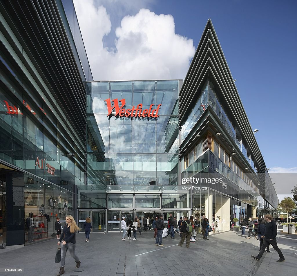 Mall entrance with angular and pointy building facade Westfield Shopping Centre Stratford London United Kingdom Architect Westfield Group 2011