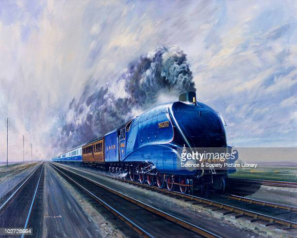 'Mallard' steam locomotive hauling carriages at speed c 1938 Oil painting by Gerald Coulson The A4 Pacific class 'Mallard' was designed by Sir Nigel...