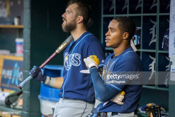 Mallex Smith and Steven Souza Jr #20 of the Tampa Bay Rays watch the replay on the score board after being called out trying to steal home plate in...