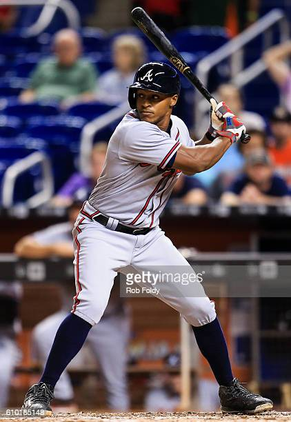 Mallex Smith of the Atlanta Braves at bat during the game against the Miami Marlins at Marlins Park on September 22 2016 in Miami Florida
