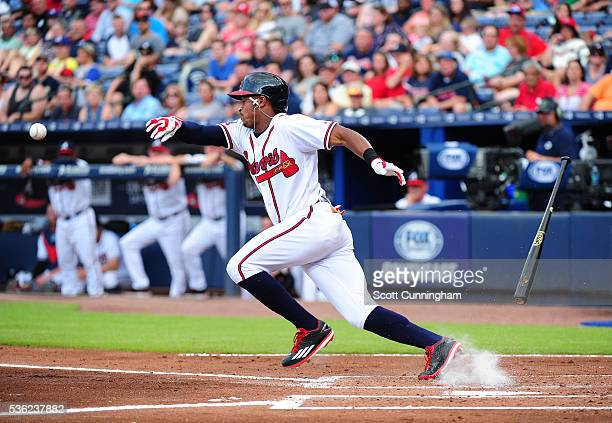 Mallex Smith of the Atlanta Braves attempts a third inning bunt against the San Francisco Giants at Turner Field on May 31 2016 in Atlanta Georgia