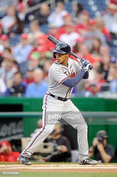 Mallex Smith of the Atlanta Braves bats in the first inning during his major league debut against the Washington Nationals at Nationals Park on April...