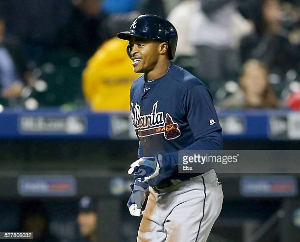 Mallex Smith of the Atlanta Braves heads for home after his at bat was ruled a home run after official review in the fifth inning against the New...