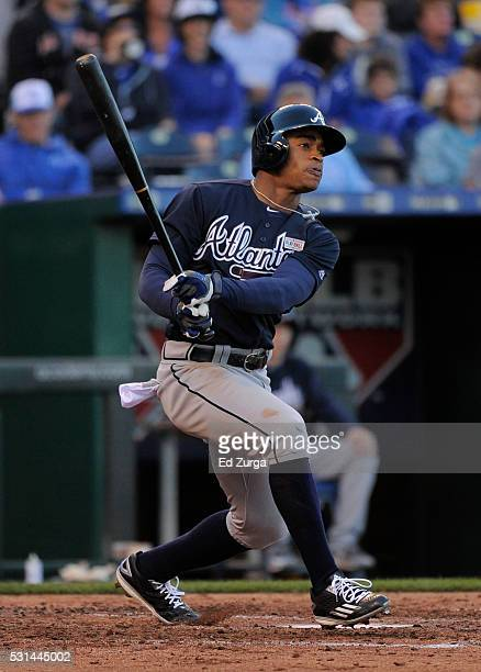Mallex Smith of the Atlanta Braves hits a double in the sixth inning against the Kansas City Royals at Kauffman Stadium on May 14 2016 in Kansas City...