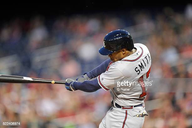 Mallex Smith of the Atlanta Braves hits a single in the second inning for his first career hit during his major league debut against the Washington...