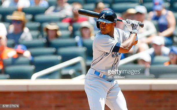Mallex Smith of the Atlanta Braves in action against the New York Mets at Citi Field on June 19 2016 in the Flushing neighborhood of the Queens...