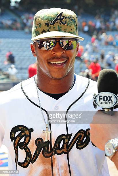 Mallex Smith of the Atlanta Braves is interviewed after the game against the San Francisco Giants at Turner Field on May 30 2016 in Atlanta Georgia
