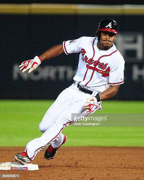 Mallex Smith of the Atlanta Braves rounds second base during the seventh inning against the Washington Nationals at Turner Field on September 16 2016...