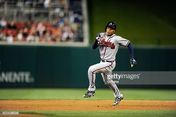Mallex Smith of the Atlanta Braves runs the bases during his major league debut against the Washington Nationals at Nationals Park on April 11 2016...