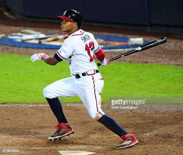 Mallex Smith of the Atlanta Braves singles to knock in an eighth inning run against the Philadelphia Phillies at Turner Field on September 27 2016 in...