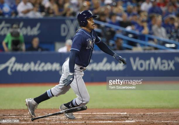 Mallex Smith of the Tampa Bay Rays hits a double in the fifth inning during MLB game action against the Toronto Blue Jays at Rogers Centre on August...