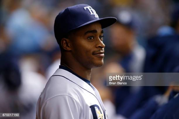 Mallex Smith of the Tampa Bay Rays looks on from the dugout during the fifth inning of a game against the Detroit Tigers on April 18 2017 at...