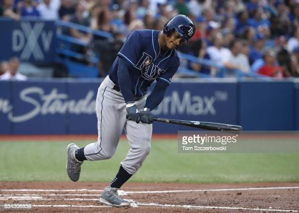 Mallex Smith of the Tampa Bay Rays reacts as he flies out in the third inning during MLB game action against the Toronto Blue Jays at Rogers Centre...