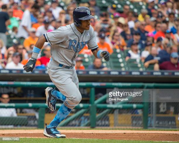 Mallex Smith of the Tampa Bay Rays runs to first base in the first inning during a MLB game against the Detroit Tigers at Comerica Park on June 17...
