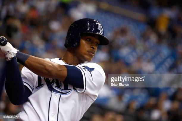 Mallex Smith of the Tampa Bay Rays warms up on deck before batting during the fourth inning of a game against the New York Yankees on April 5 2017 at...