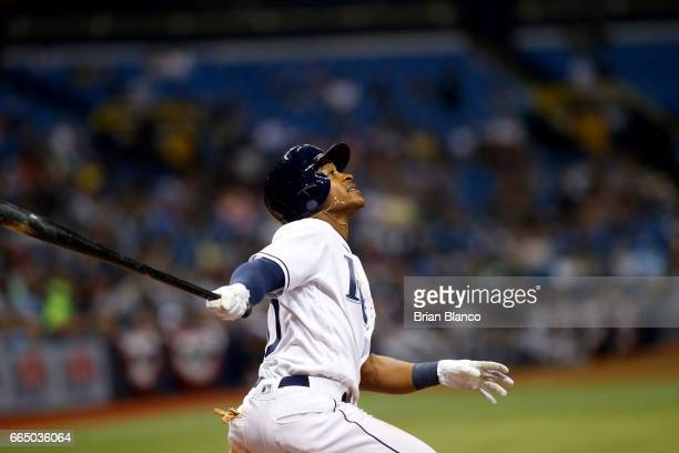 Mallex Smith of the Tampa Bay Rays watches the path of his could ball during the fourth inning of a game against the New York Yankees on April 5 2017...