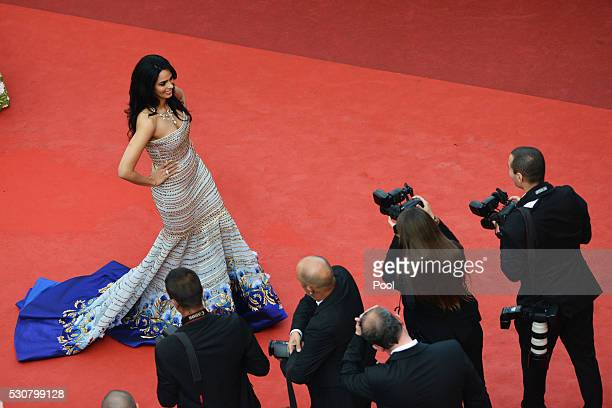 Mallika Sherawat attends the 'Cafe Society' premiere and the Opening Night Gala during the 69th annual Cannes Film Festival at the Palais des...