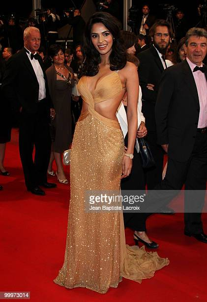 Mallika Sherawat attends the 'Certified Copy' Premiere at the Palais des Festivals during the 63rd Annual Cannes Film Festival on May 18 2010 in...