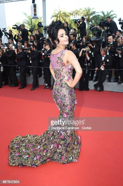 Mallika Sherawat attends the 'The Beguiled' screening during the 70th annual Cannes Film Festival at Palais des Festivals on May 24 2017 in Cannes...