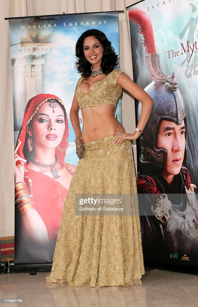 <a gi-track='captionPersonalityLinkClicked' href=/galleries/search?phrase=Mallika+Sherawat&family=editorial&specificpeople=233692 ng-click='$event.stopPropagation()'>Mallika Sherawat</a> during 2005 Cannes Film Festival - 'The Myth' Photocall at Majestic Hotel in Cannes, France.