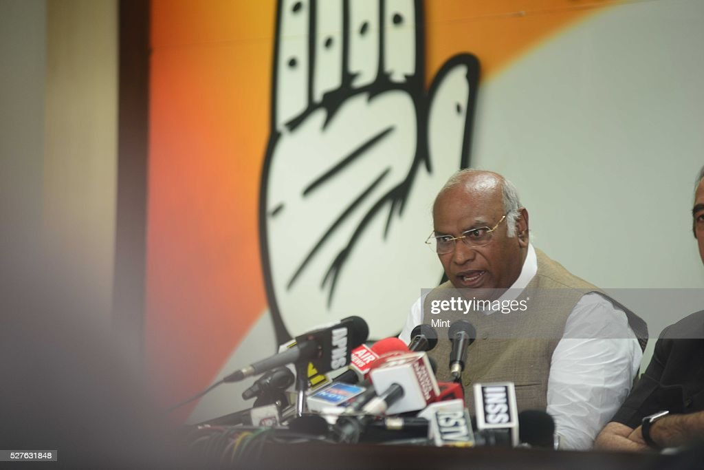 Mallikarjun Kharge - Leader of the Indian National Congress party addressing the media at congress party office on August 14, 2015 in New Delhi, India.