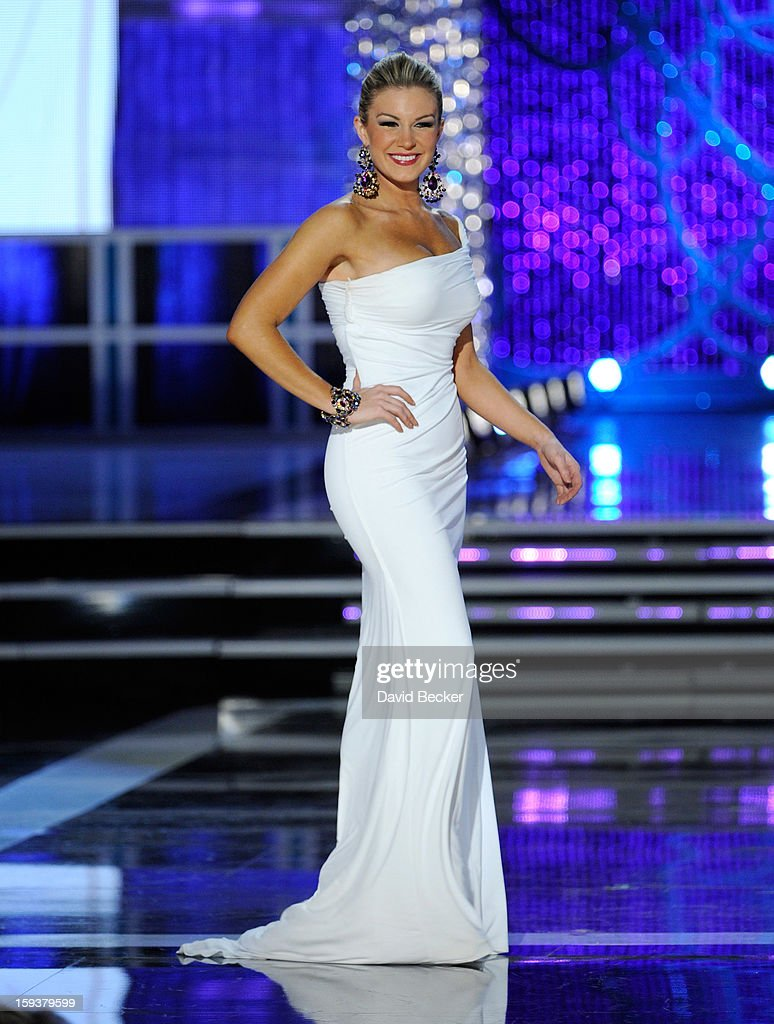 Mallory Hytes Hagan, Miss New York, competes in the evening gown competition during the 2013 Miss America Pageant at PH Live at Planet Hollywood Resort & Casino on January 12, 2013 in Las Vegas, Nevada. Hagan went on to be crowned the new Miss America.