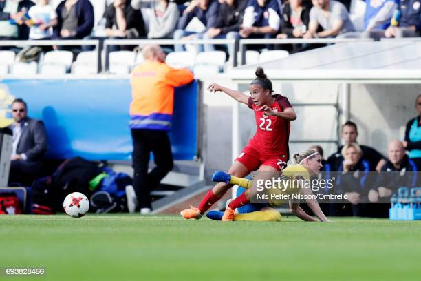 Mallory Pugh of USA is tackled by Olivia Schough of Sweden during the international friendly between Sweden and USA at Ullevi Stadium on June 8 2017...