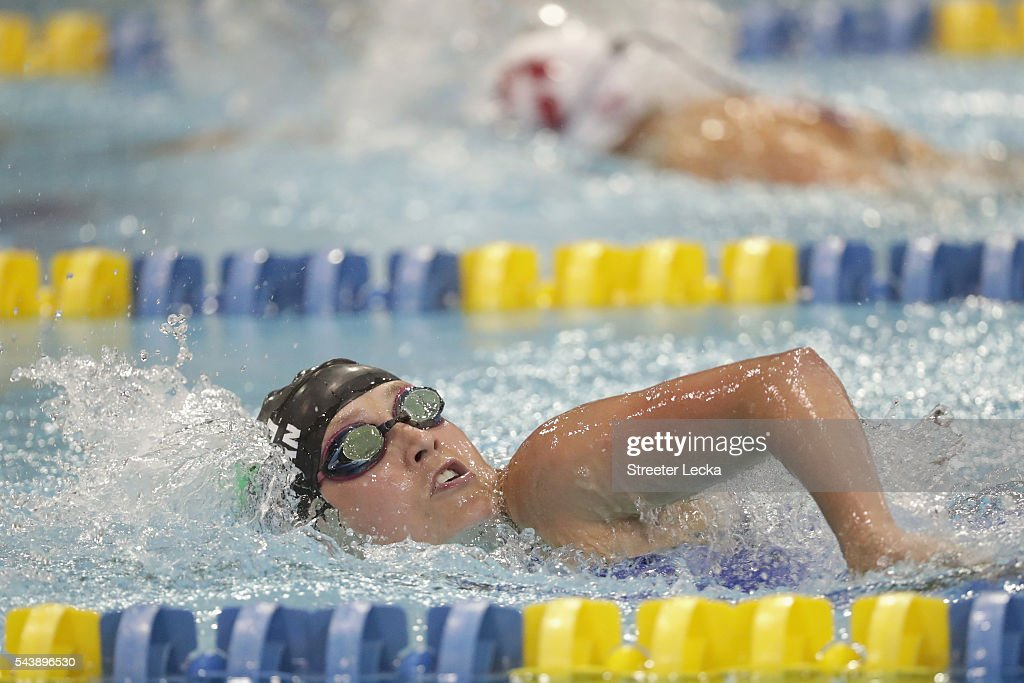 Mallory Weggemann competes in the women's 400m Freestyle Multi-Class preliminaries on day 1 of the 2016 U.S. Paralympic Trials Swimming at Mecklenburg County Aquatic Center on July 1, 2016 in Charlotte, North Carolina.
